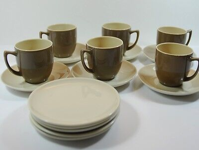 Vintage Branksome Graceline Twintone Cups, Saucers and Small Side Plates Mocha