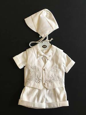 BABY BOYS WHITE CHRISTENING OUTFIT SUIT WITH BOW TIE (Ref6)