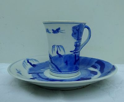 Antique Chinese Teacup Coffee & Saucer Hand Painted Signed Blue White Willow Can