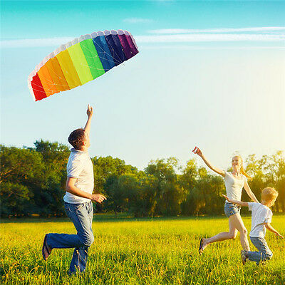 Super Stunt Parafoil Rainbow Kite - 1.2m or 1.4m - With 30m Dual Line