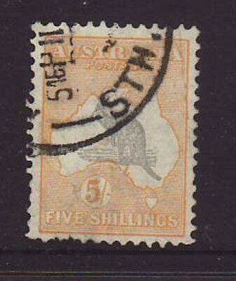 5/ Shilling Grey & yellow C of A watermark Roo fine used