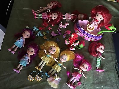 """Huge Lot of 63-Strawberry Shortcake 6"""" Dolls, Accessories, Fairy Spinner &4 DVDS"""