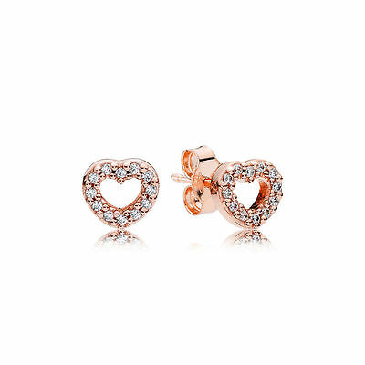 S925 Silver Rose Gold Plated Rose Petite Hearts Earrings With A Pandora Cloth