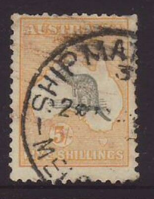 5/ Shilling Grey & yellow C of A watermark Roo good used