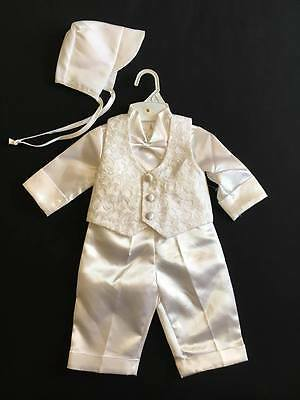 BABY BOYS WHITE 5 PIECE CHRISTENING OUTFIT SUIT WITH BOW TIE & BONNET (Ref11)