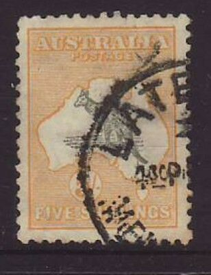 5/ Shilling Grey & yellow C of A watermark Roo good to fine used