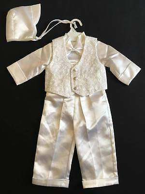 BABY BOYS WHITE 5 PIECE CHRISTENING OUTFIT SUIT WITH BOW TIE & BONNET (Ref12)