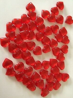 60 X20mm Red Love Hearts plastic scatter table wedding day Beads decor Vases