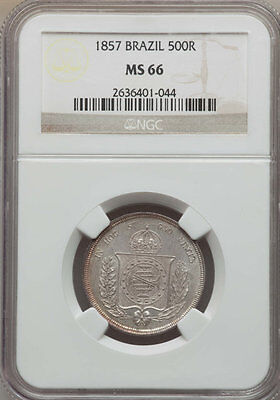 1857 BRAZIL Silver 500 Reis Coin NGC MS 66, Highest Grade in Series!