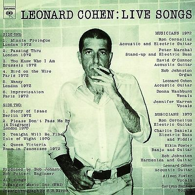 LEONARD COHEN ~ LIVE SONGS ~ 180gsm AUDIOPHILE VINYL LP ~ *NEW AND SEALED*