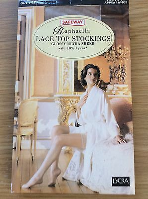 VINTAGE Raphaella LACE TOP GLOSSY ULTRA -SHEER, STOCKINGS, One Size, NEARLY NUDE