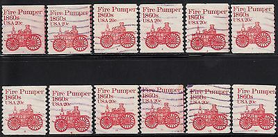 1908 20c Fire Pumper 12 different pnc numbers with purple machine cancels