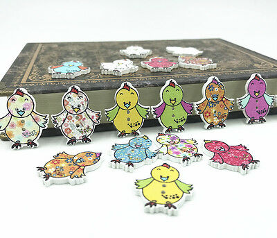 25X Cartoon Mix color Wooden decoration Sewing Scrapbooking cock buttons 25mm