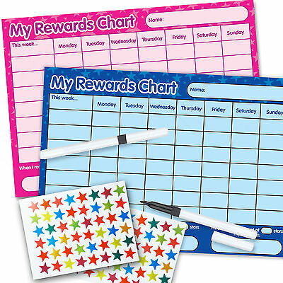 TWO Re-usable Reward Chart (including FREE Stickers and Pen) PINK AND BLUE