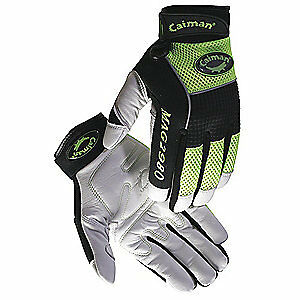 CAIM Mechanics Gloves,White/Hi-Vis Lime,M,PR, 2980-4, White/High Visibility Lime