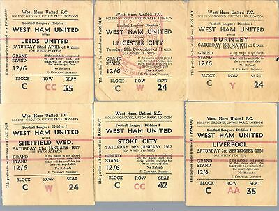 WEST HAM UNITED 1960's home tickets by 29