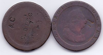2 COINS 1797 GEORGE III CARTWHEEL PENNY (both counter-marked)