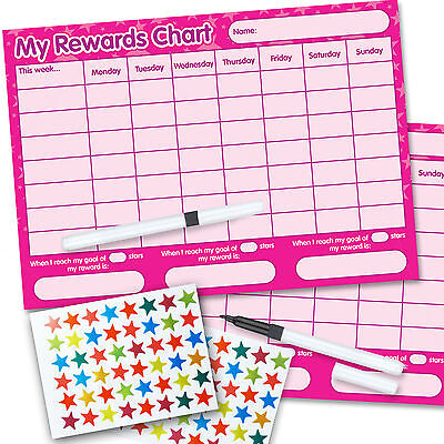 2 Re-usable Reward Chart (including FREE Stickers and Pen) PINK twin pack