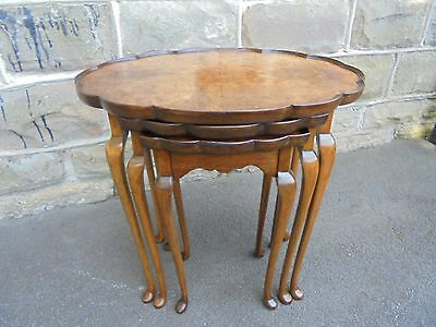Antique Burr Walnut Nest 3 Tables
