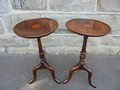 Pair Edwardian Inlaid Mahogany Tripod Wine Tables