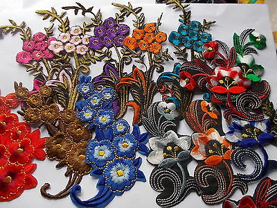 Pretty Embroidered Flower Spray-  Iron/Sew On Applique / patch choose colour
