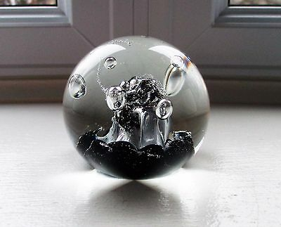 "Caithness Tango Paperweight Sable Black White Swirl CIIG Second 2 1/2"" Scotland"