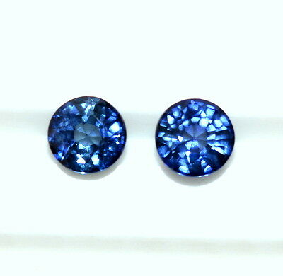 0.51 Cts Natural Sapphire Round Cut Pair 3.50 mm Lustrous Blue Loose Gemstones