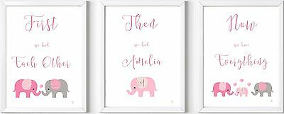 Set 3 Personalised baby name print elephant nursery christening gift picture