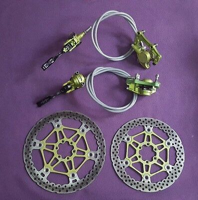 Hope Tech V2 Team green Disc Brakes 203/183mm rotors no m4 tech evo x2 v4
