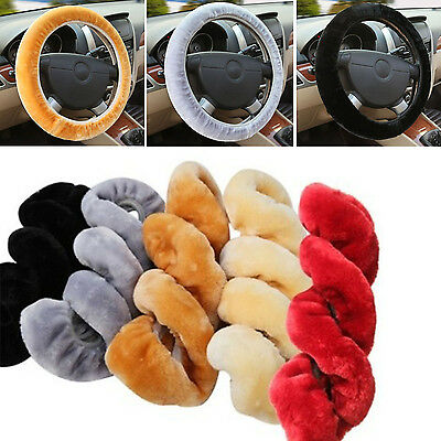 Warm Plush Steering Wheel Cover Winter Furry Fluffy Soft Plush Car Wheel NEW