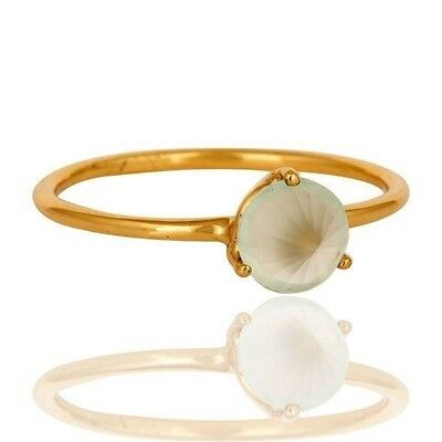 Natural Green Chalcedony Gemstone Gold Plated 925 Sterling Silver Ring Jewelry