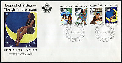 NAURU 1989 20th Anniv of First Manned Landing, SET OF 4, USED on FIRST DAY COVER