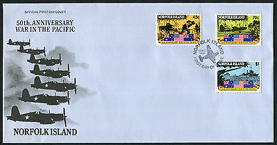 NORFOLK ISLAND 1991 50th Anniv of Outbreak of Pacific War, SET OF 3, USED F.D.C.