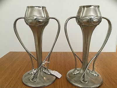 Stunning Pair Of Liberty & Co Tudric Pewter Tulip Vases By Oliver Barker
