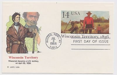 Postal Card - Wisconsin Territory - Mineral Point, WI. 1986 - 14 Cent Stamp