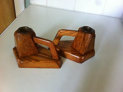 pair of vintage oak candle stick holders