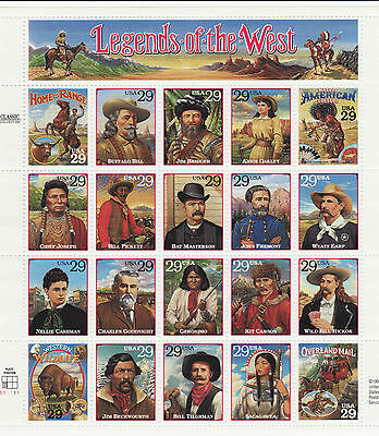 Legends Of The West Stamp Sheet -- Usa #2869 29 Cent 1994