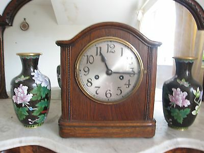 Antique Solid Oak German 8 Day Chiming Mantel Clock Working Brass Bezel gd Dial