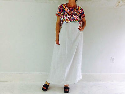 Vintage Santa Apolonia Hand-Woven Guatemalan Huipil Dress. Boho Beauty
