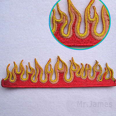 1x Flame Fires Embroidered Iron On Patches Badge Hat Fabric Applique DIY Craft