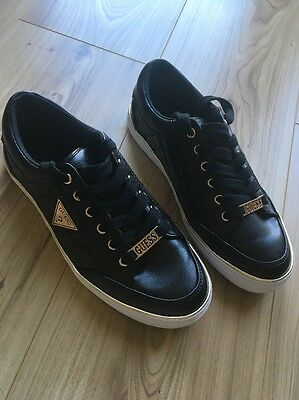 Women's Guess Designer Black And Gold Trainers Size 3.5