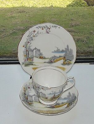 Royal Albert Bone China England 1940s Rosedale Pattern Trio Cup Saucer Plate