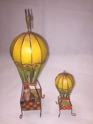 Dept. 56 Toys In The Attic Metal Set Of Hot Air Balloons With Santa