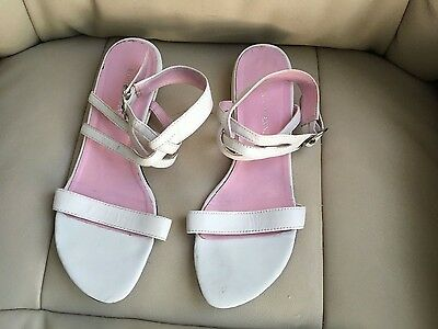 Roberto Vianni White Leather Sandal shoes size 38/5 summer/Holiday