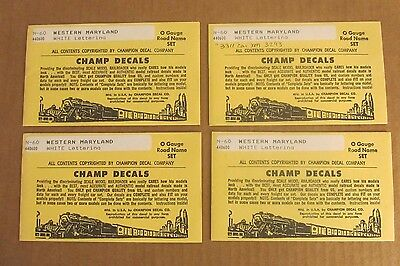 LOT of 4 Champ Decals O Scale WESTERN MARYLAND (White) Road Name Sets #N-60