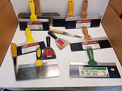 """Mixed lot of 12 Unused Finishing Drywall Taping Knifes 4"""" to 14"""" & Drywall Saw"""