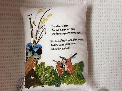VINTAGE UNUSED CUSHION COVER Handstitched Embroidery on pure linen.
