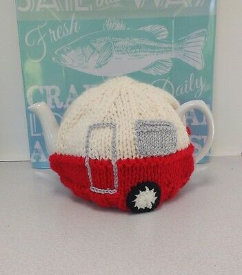 Vintage Style Caravan Tea Cosy Red Hand Knitted