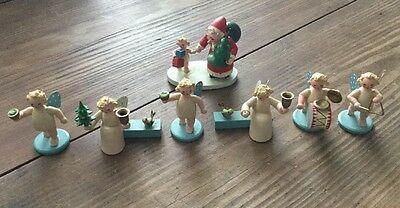 VINTAGE GERMAN GESCHWISTER STEINBACH WOOD MINI ANGEL LOT 7 Pcs