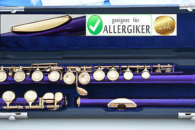Flute 24 ct GOLD & PURBLE closed holes, E-Mechanism, C-Food ALLERGY FREE